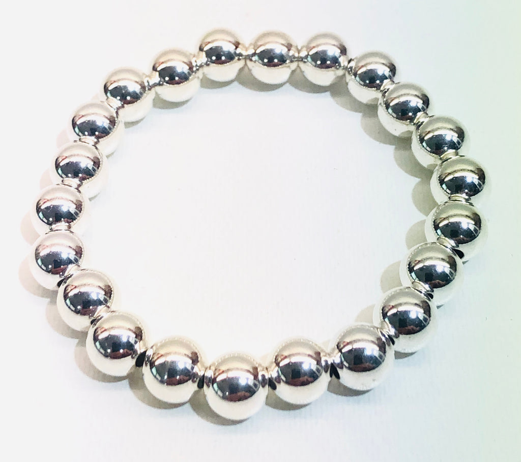 8mm Sterling Silver Bead Bracelet