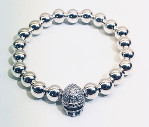 8mm Sterling Silver Bracelet with CZ Jeweled Football Helmet