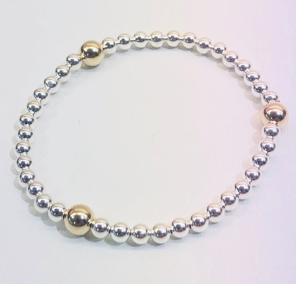 4mm Sterling Silver Bracelet with 3 6mm 14kt Gold Filled Beads