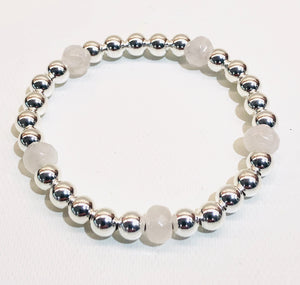 6mm Sterling Silver Bead Bracelet 5 Pale Pink Quartz Beads