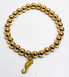 6mm 14kt Gold Filled Bead Bracelet with Gold Seahorse