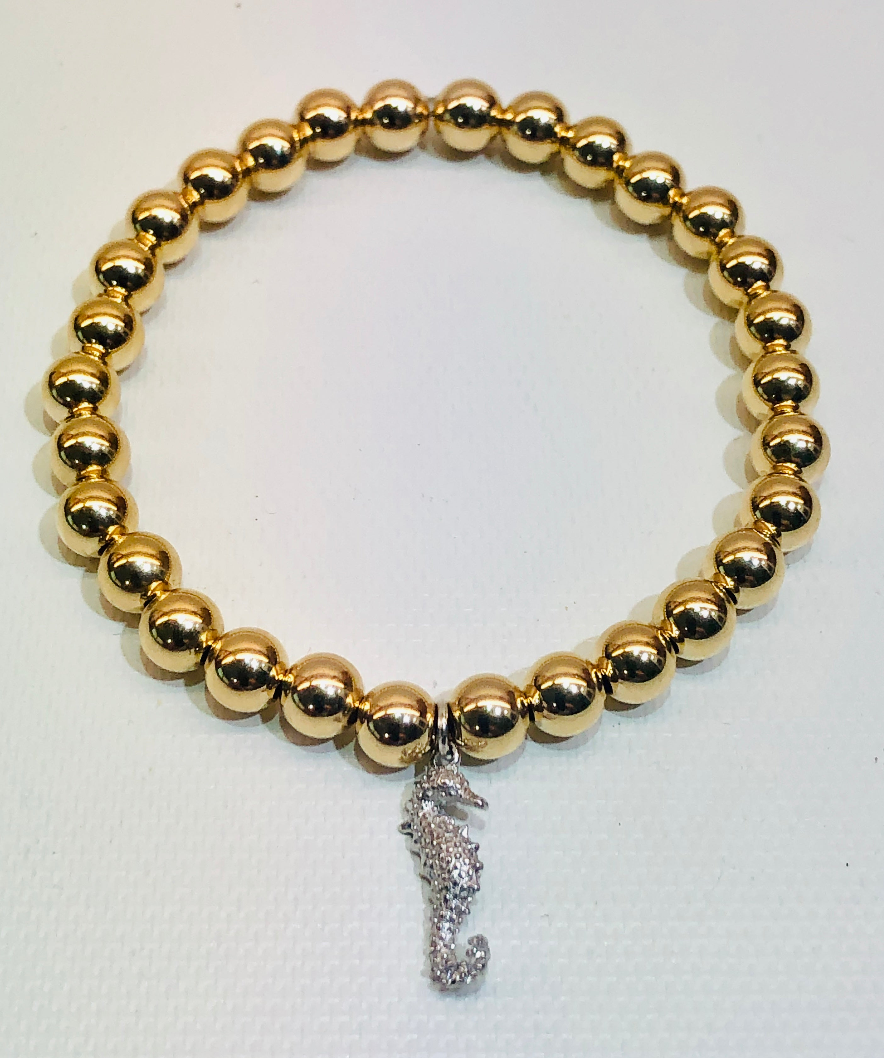 6mm 14kt Gold Filled Bead Bracelet with Silver Seahorse