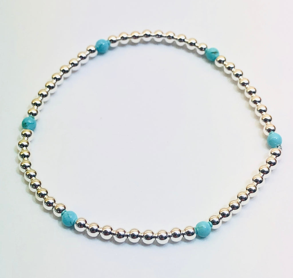 3mm Sterling Silver Bead Bracelet with 7 4mm Turquoise Beads