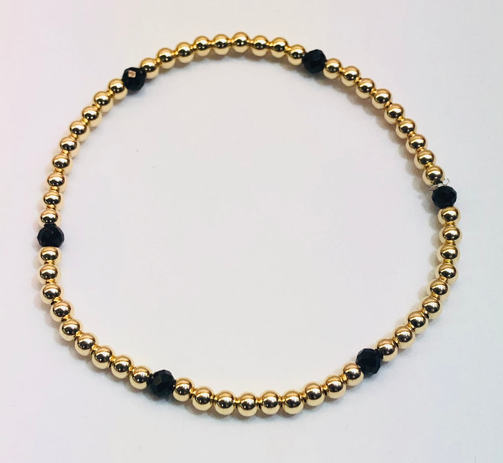 3mm 14kt Gold Filled Bead Bracelet with 6 3mm Onyx Beads