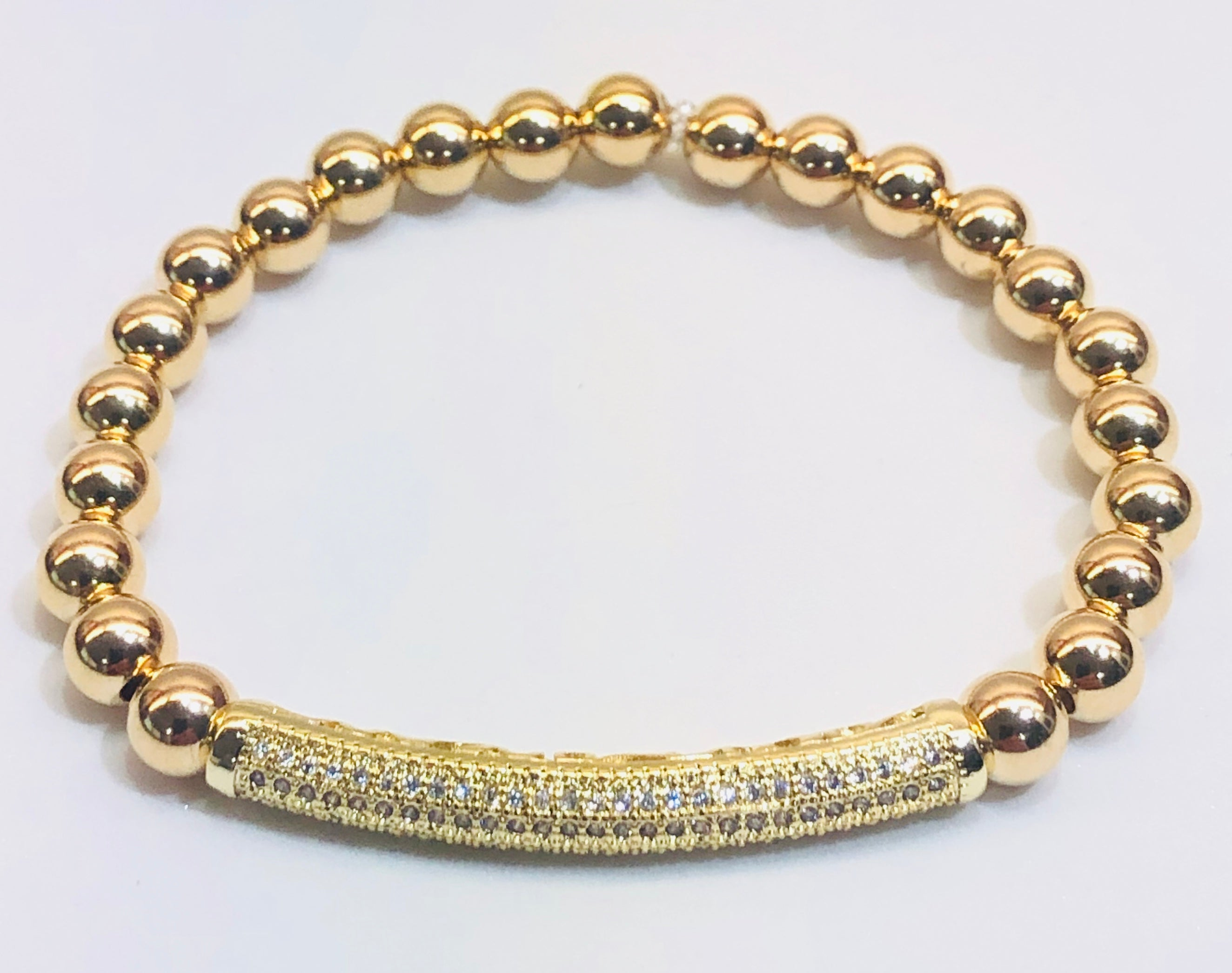 6mm Gold Filled Bead Bracelet with Micro CZ Pave Jeweled Tube