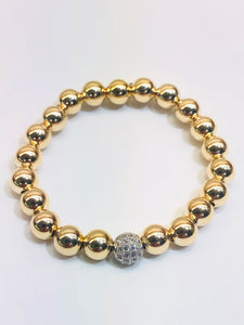 8mm 14kt Gold Filled Bead Bracelet with 8mm Jeweled Disco Ball