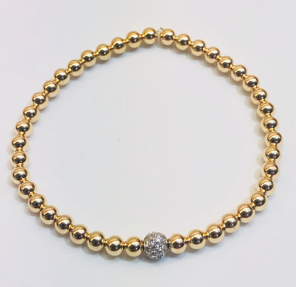 4mm 14kt Gold Filled Bead Bracelet with 5mm Jeweled Disco Ball