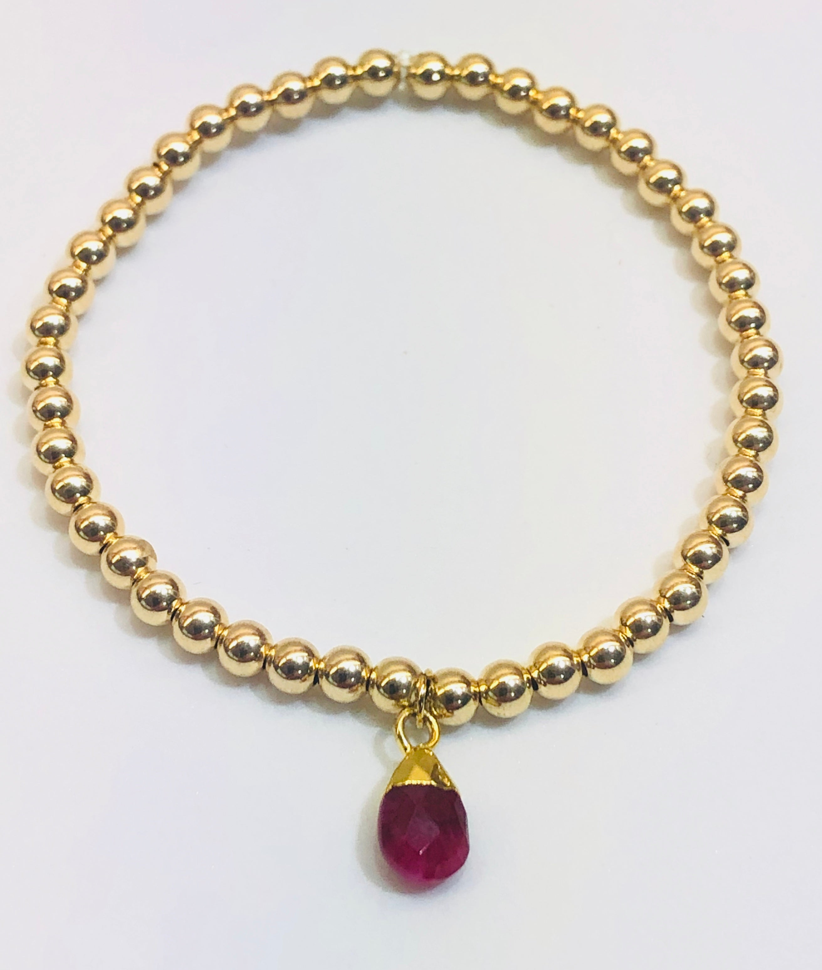 4mm 14k Gold Filled Bracelet with Ruby Jewel Hang Charm