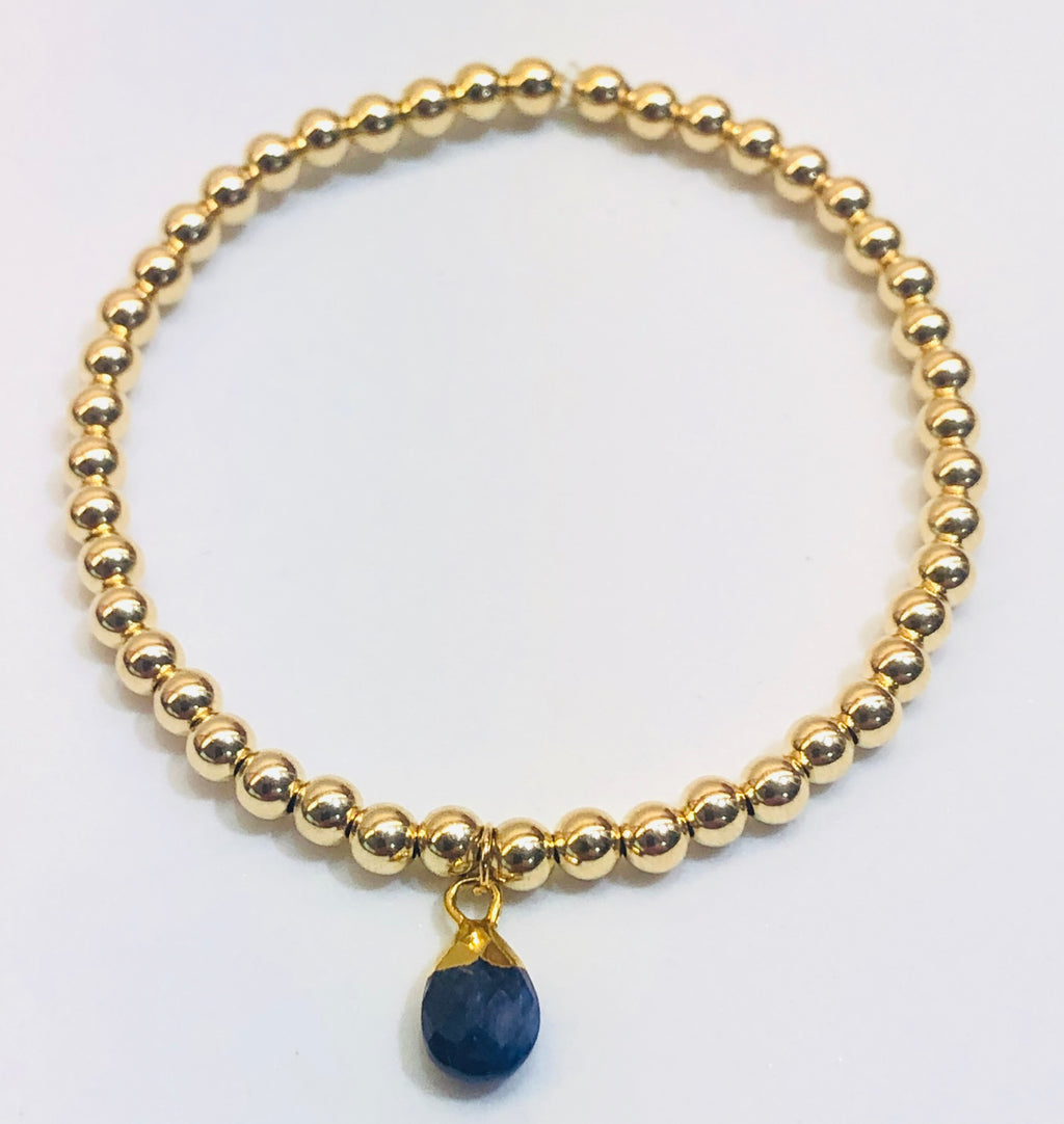 4mm 14k Gold Filled Bracelet with Colored Hanging Sapphire Jewel Charm
