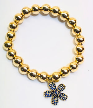 8mm 14k Gold Filled Bead Bracelet with CZ Jeweled Flower Charm