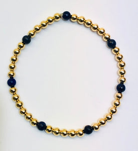 4mm 14kt Gold Filled Bracelet with 7 Lapis 4mm Beads
