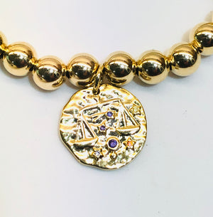 6mm 14kt Gold Filled Bracelet with Zodiac Calendar Charm