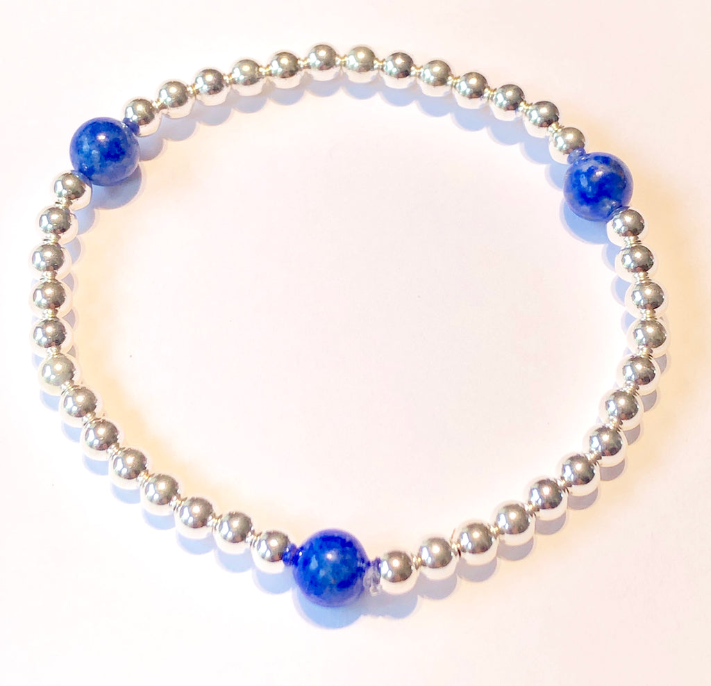 4mm Sterling Silver Bead Bracelet with 3 6mm Lapis Beads