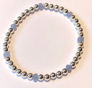 4mm Sterling Silver Bead Bracelet with Pale Blue Chalcedony Beads