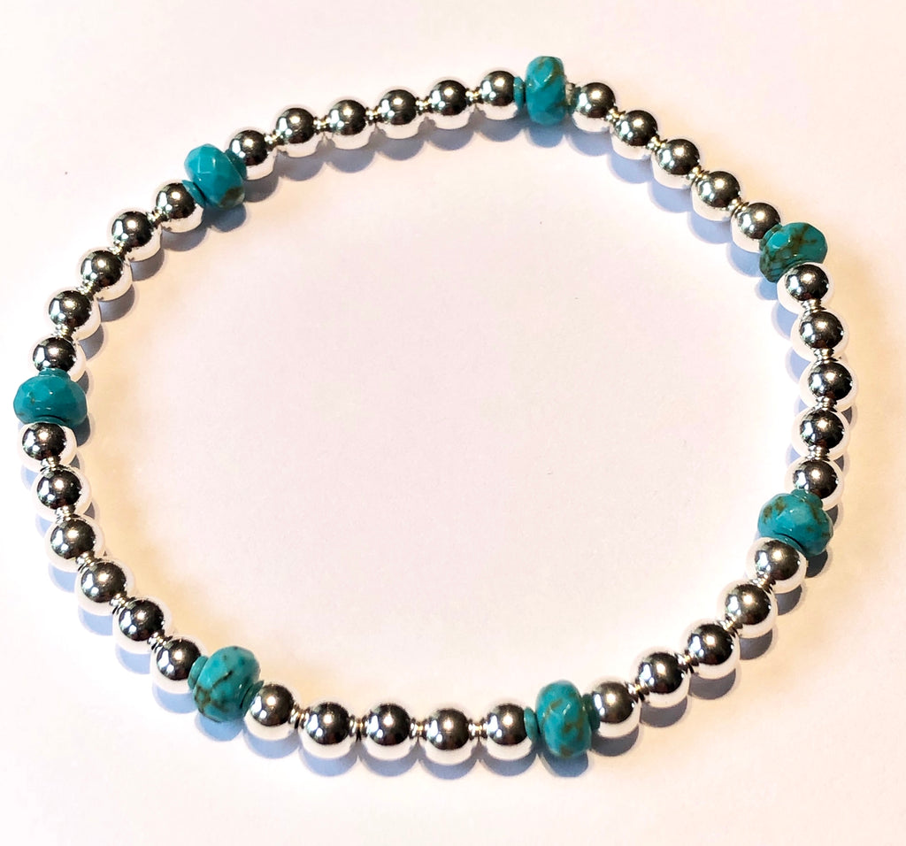 4mm Sterling Silver Bead Bracelet with 7 Turquoise Beads
