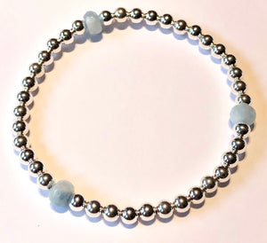 4mm Sterling Silver Bead Bracelet with 3 6mm Aquamarine