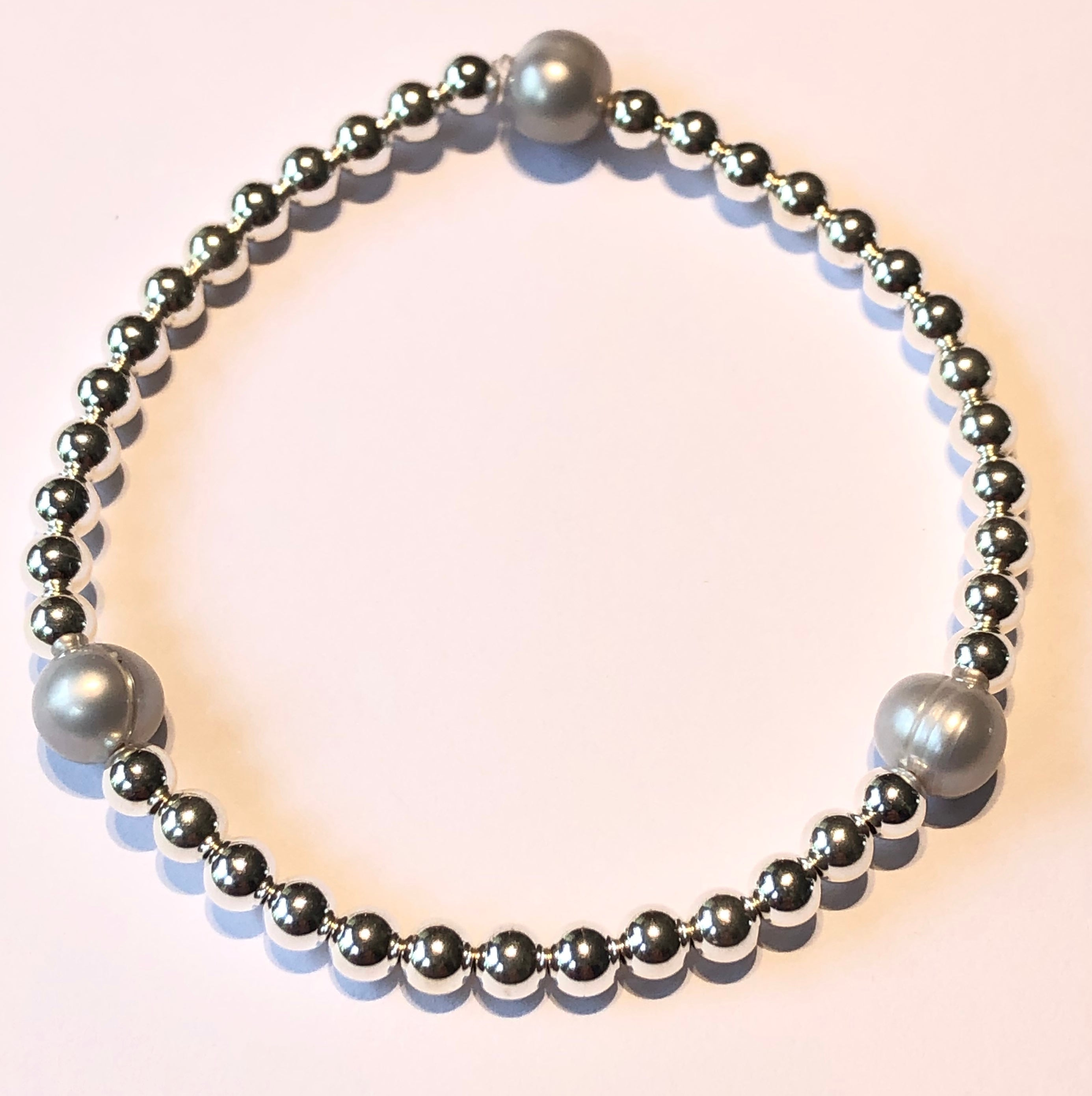 4mm Sterling Silver Bead Bracelet with 3 8mm Fresh Water Pearls