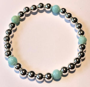 6mm Sterling Silver Bead Bracelet with 5 6mm Peruvian Opal Beads