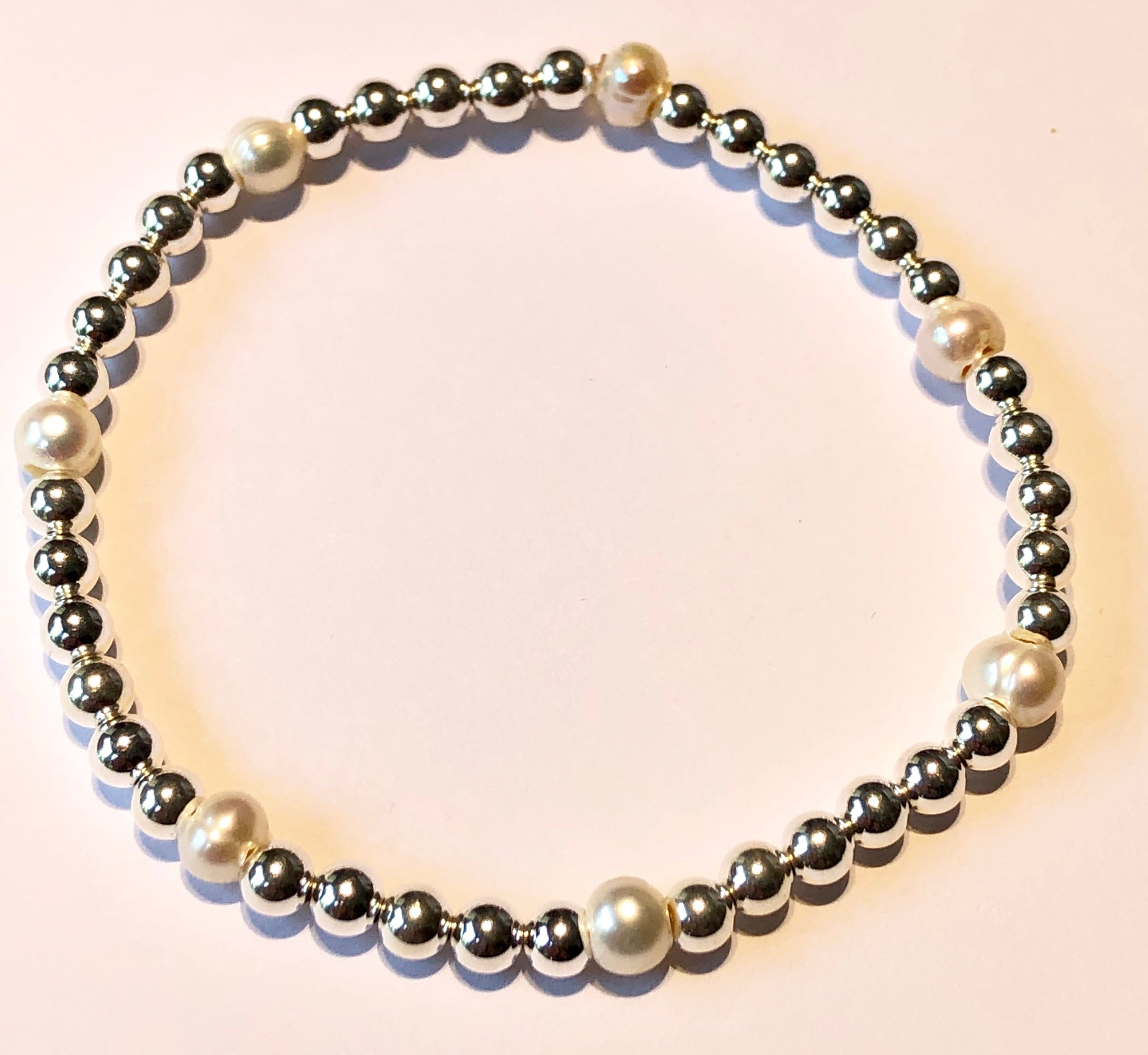 4mm Sterling Silver Bead Bracelet with 3 Fresh Water Pearls