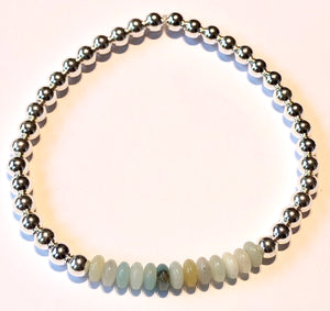4mm Sterling Silver Bead Bracelet with Amazonite Bead Cluster