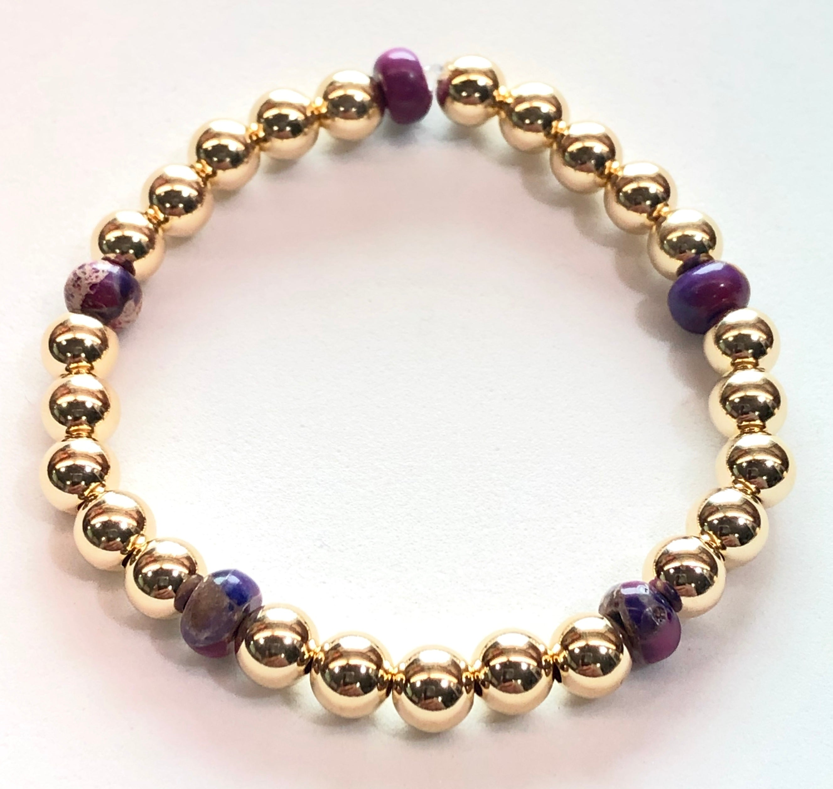 6mm 14kt Gold Filled Bead Bracelet with 6mm Purple Jasper Beads