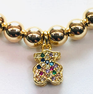 6mm 14kt Gold Filled Bead Bracelet with Jeweled Teddy Bear Hang Charm
