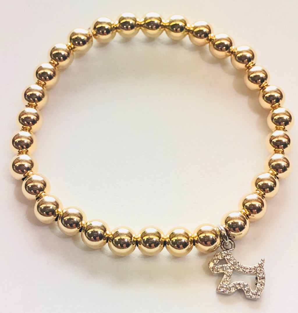 6mm 14kt Gold Filled Bead Bracelet with Jeweled Silver Dog Hanging Charm