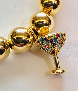 8mm 14kt Gold Filled Bead Bracelet with Gold Jeweled Cocktail Glass Hang Charm