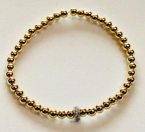 4mm 14kt Gold Filled Bead Bracelet with Jeweled Silver Wheel