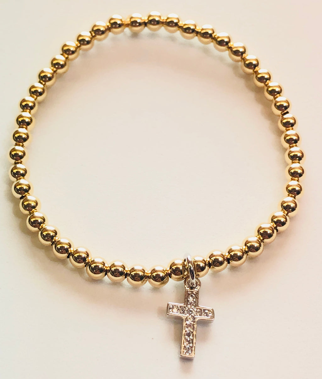 4mm 14kt Gold Filled Bead Bracelet with Silver Cross Hanging Charm