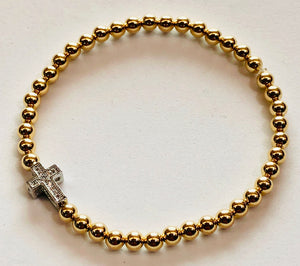 4mm 14kt Gold Filled Bead Bracelet with Cross Charm