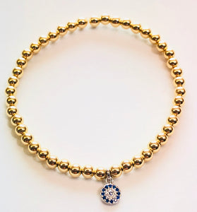 4mm 14kt Gold Filled Bead Bracelet with Small Round Sapphire Jeweled Hanging Charm