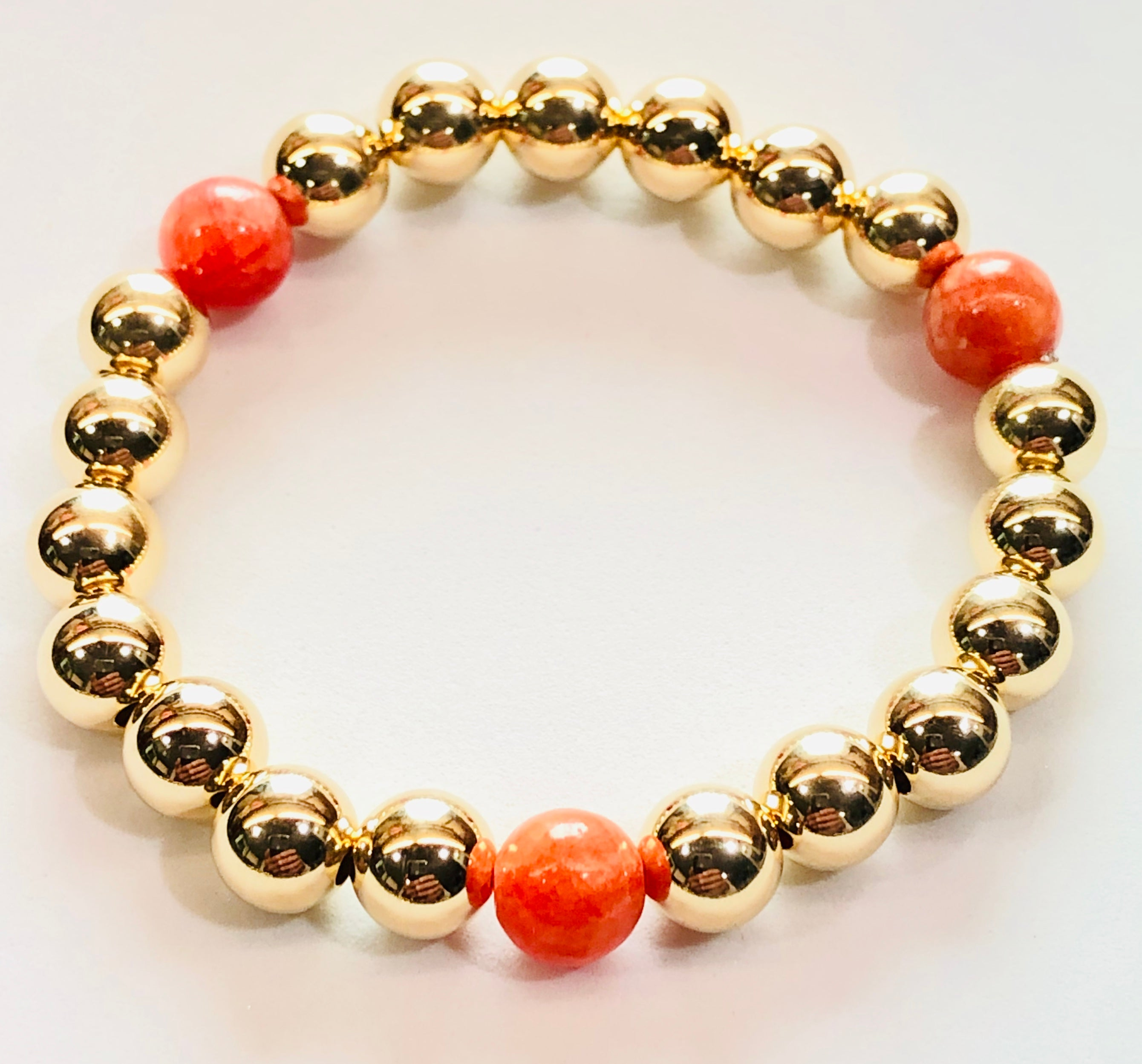 8mm 14kt Gold Filled Bead Bracelet with 3 8mm Orange Jade Beads