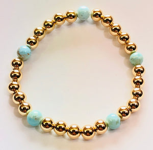 6mm14kt Gold Filled Bead Bracelet with 5 6mm Turquoise Beads