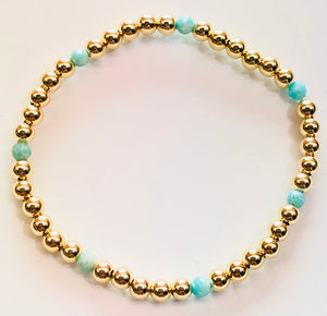 4mm 14kt Gold Filled Bead Bracelet with 7 4mm Amazonite Beads