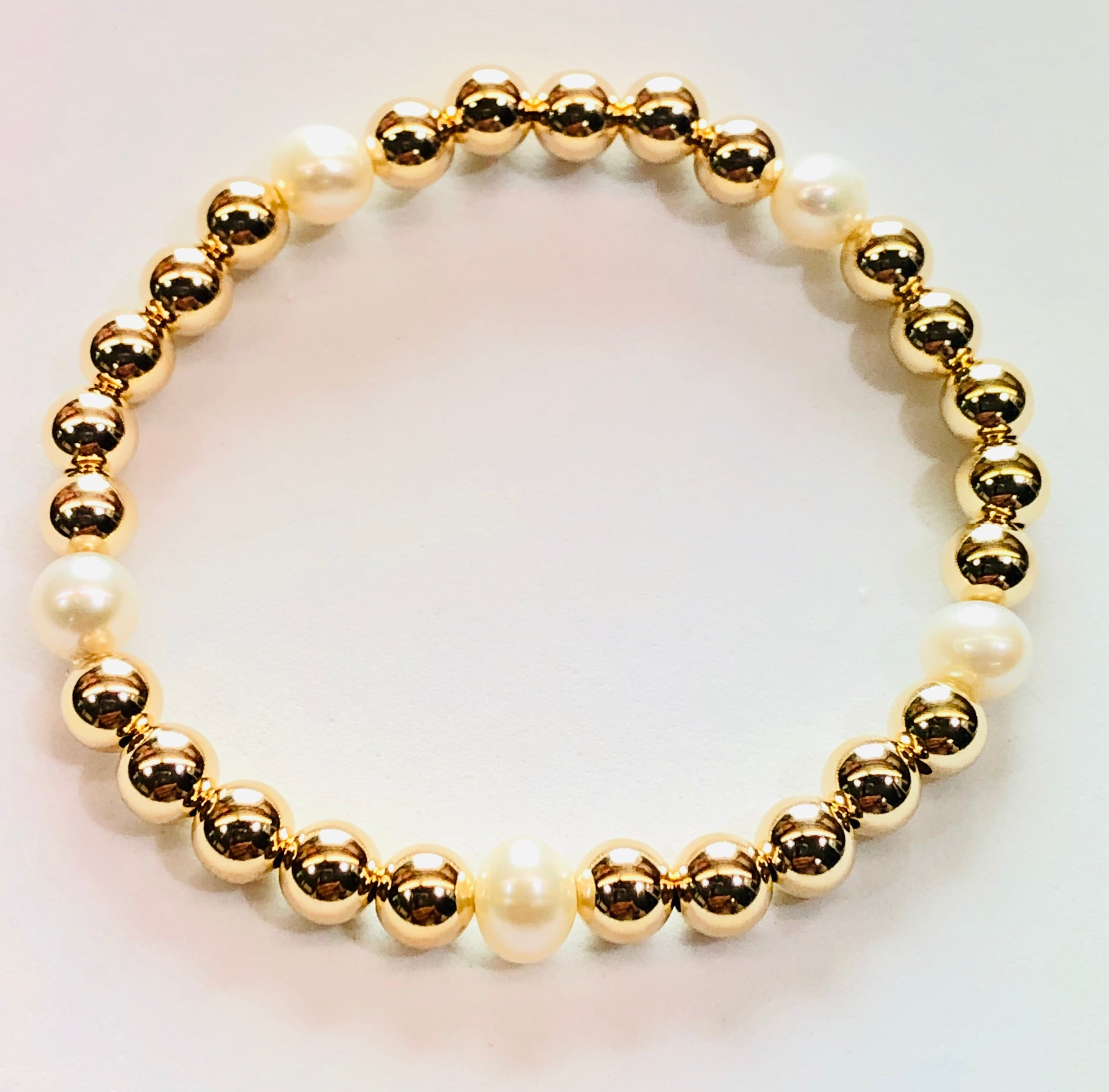 6mm 14kt Gold Filled Bead Bracelet with 5 6mm Fresh Water Pearls