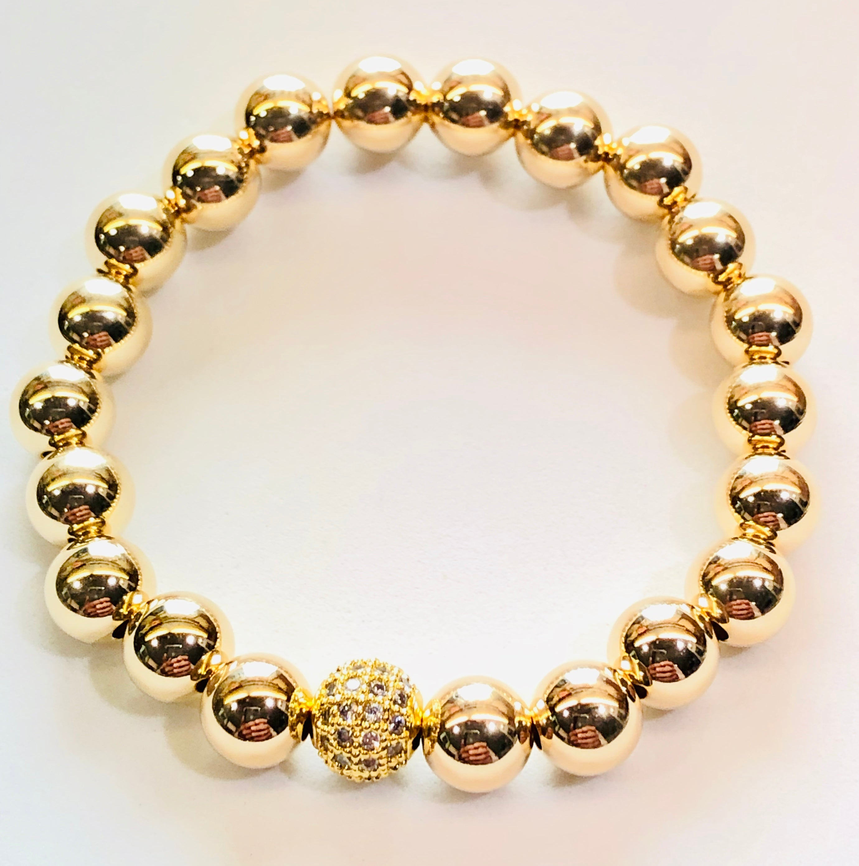 8mm 14kt Gold Filled Bead Bracelet with Jeweled Disco Ball