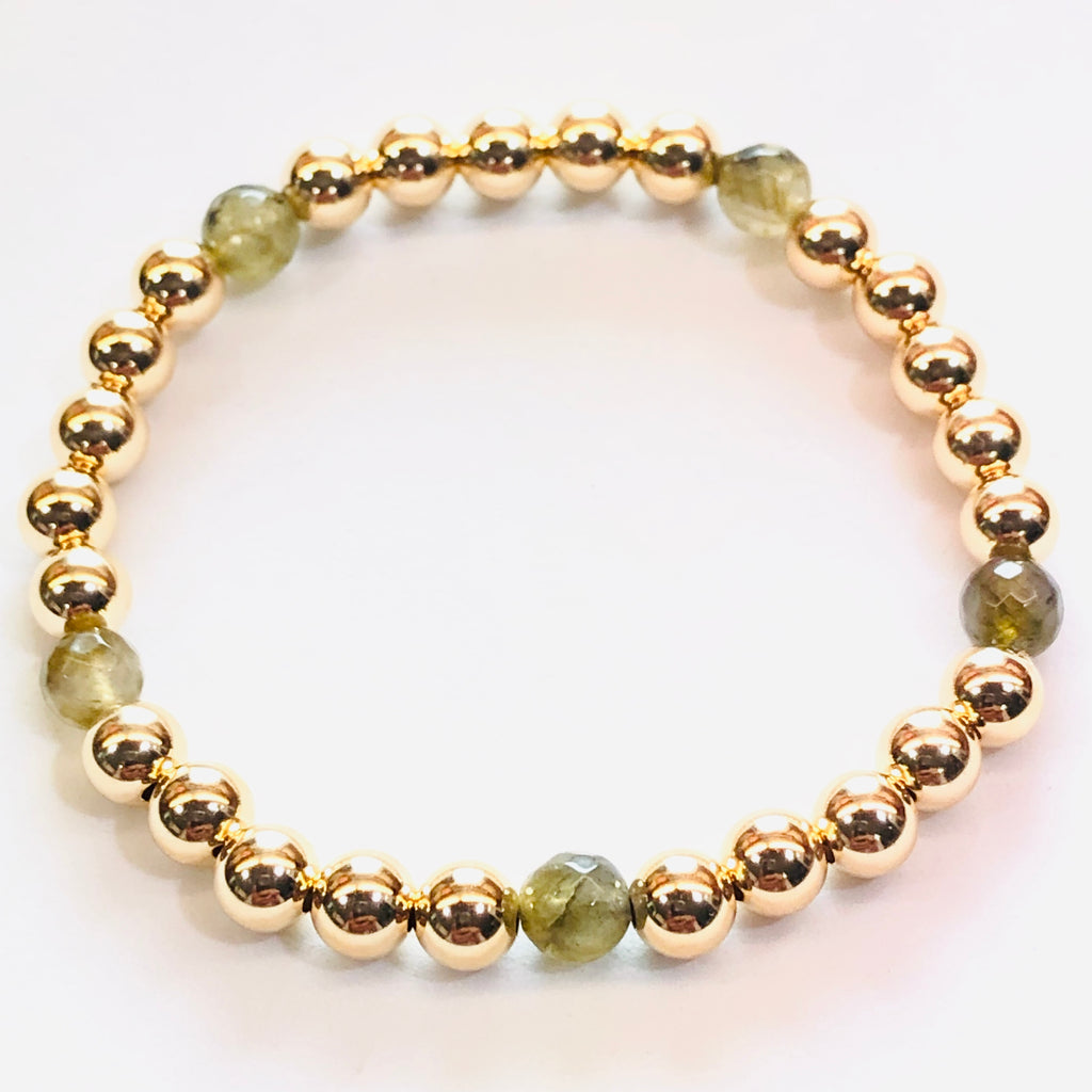 6mm 14kt Gold Filled Bead Bracelet with 5 Labradorite Beads