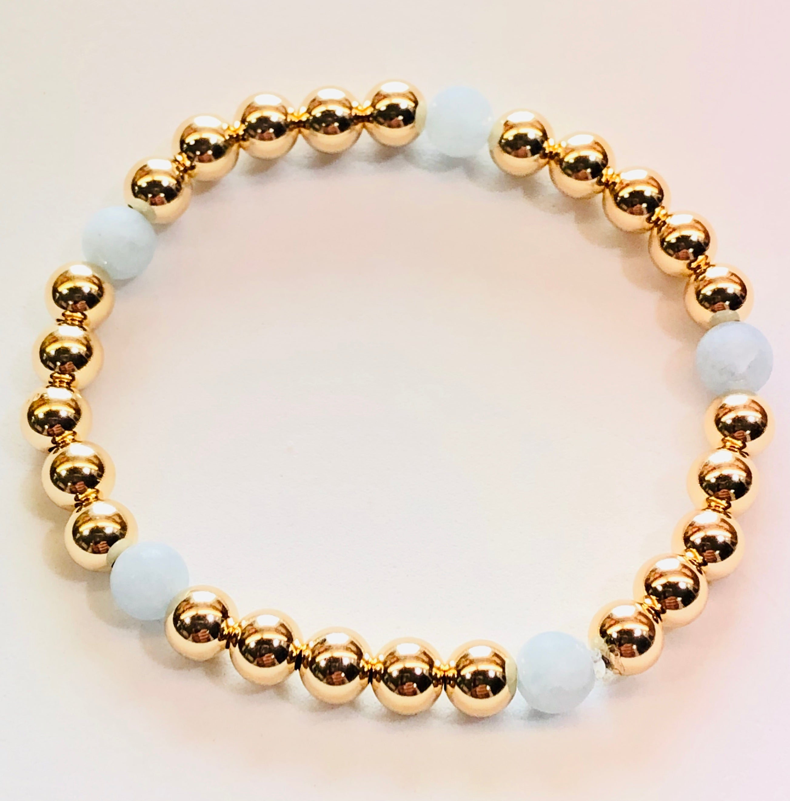 6mm 14kt Gold Filled Bead Bracelet with 5 Matte Finish Aquamarine Beads
