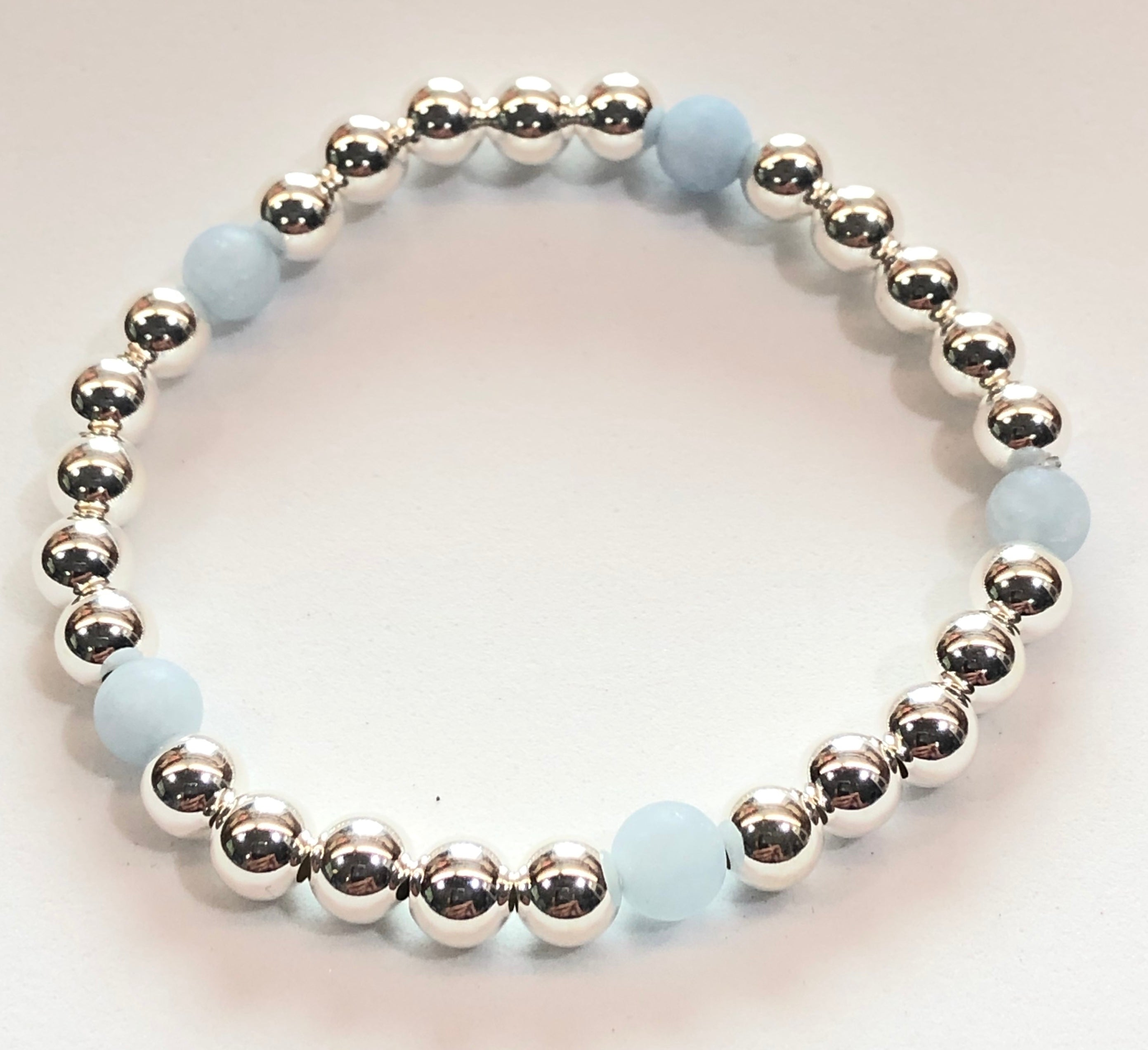 4mm Sterling Silver Bracelet with 5 Matte Aquamarine