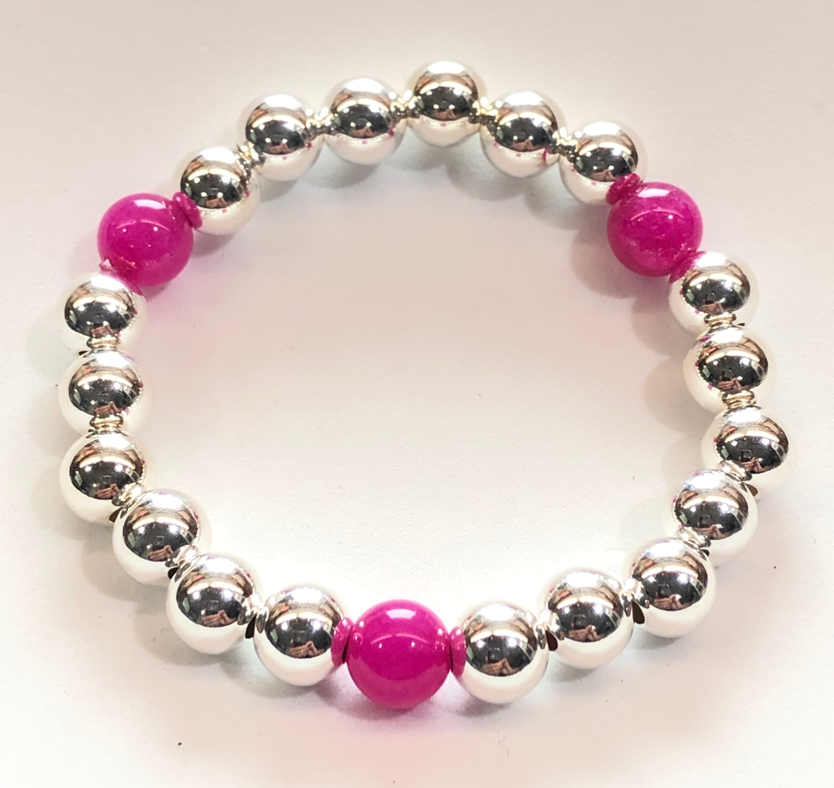 6mm Sterling Silver Bracelet with 3 6mm Hot Pink Jade