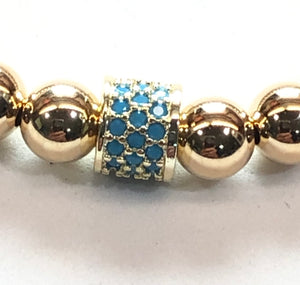 6mm 14kt Gold Filled Bead Bracelet with Turquoise Jeweled Wheel