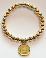 6mm 14kt Gold Filled Bead Bracelet with Individual Alphabet Hanging Charm
