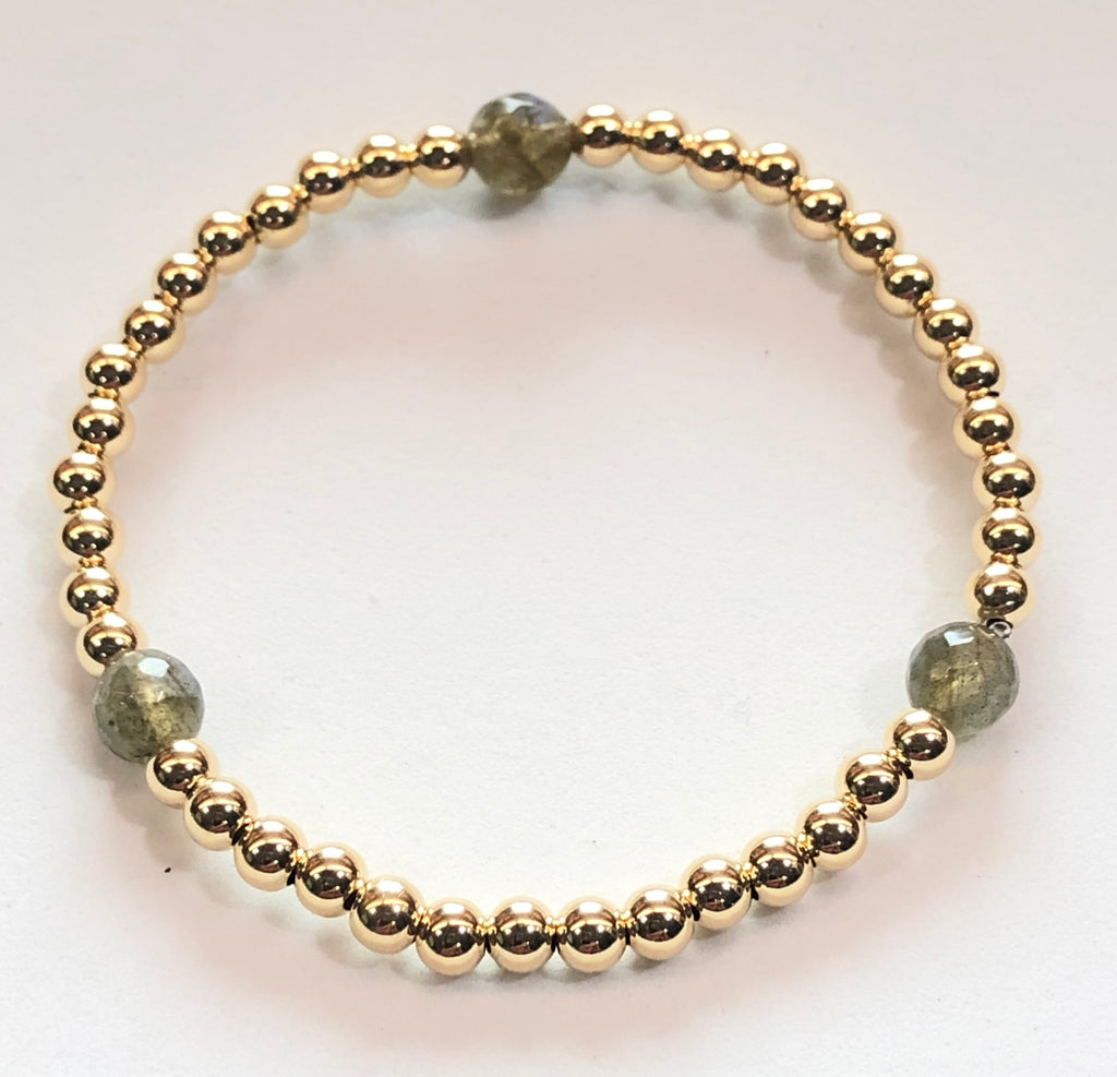 4mm 14kt Gold Filled Bead Bracelet with 3 6mm Labradorite Beads