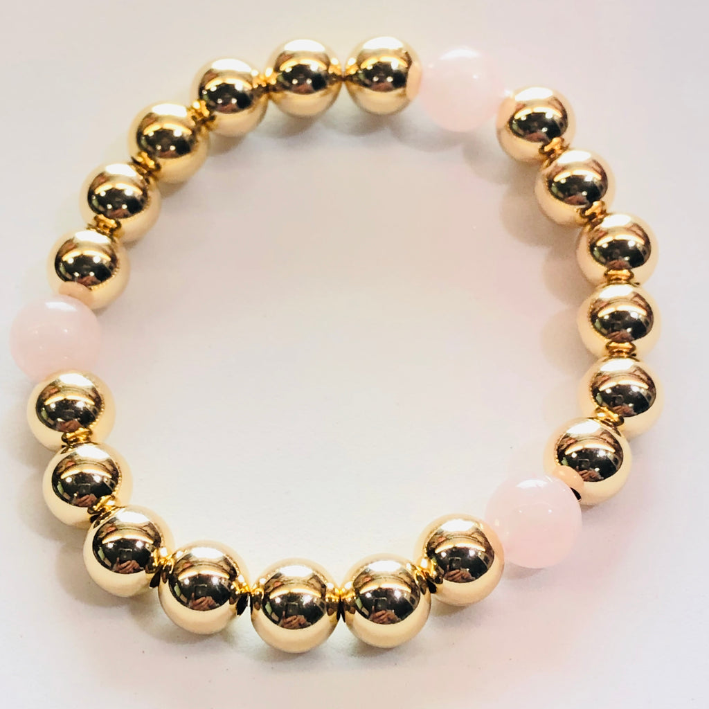 8mm 14kt Gold Filled Bead Bracelet with 3 8mm Rose Quartz Beads