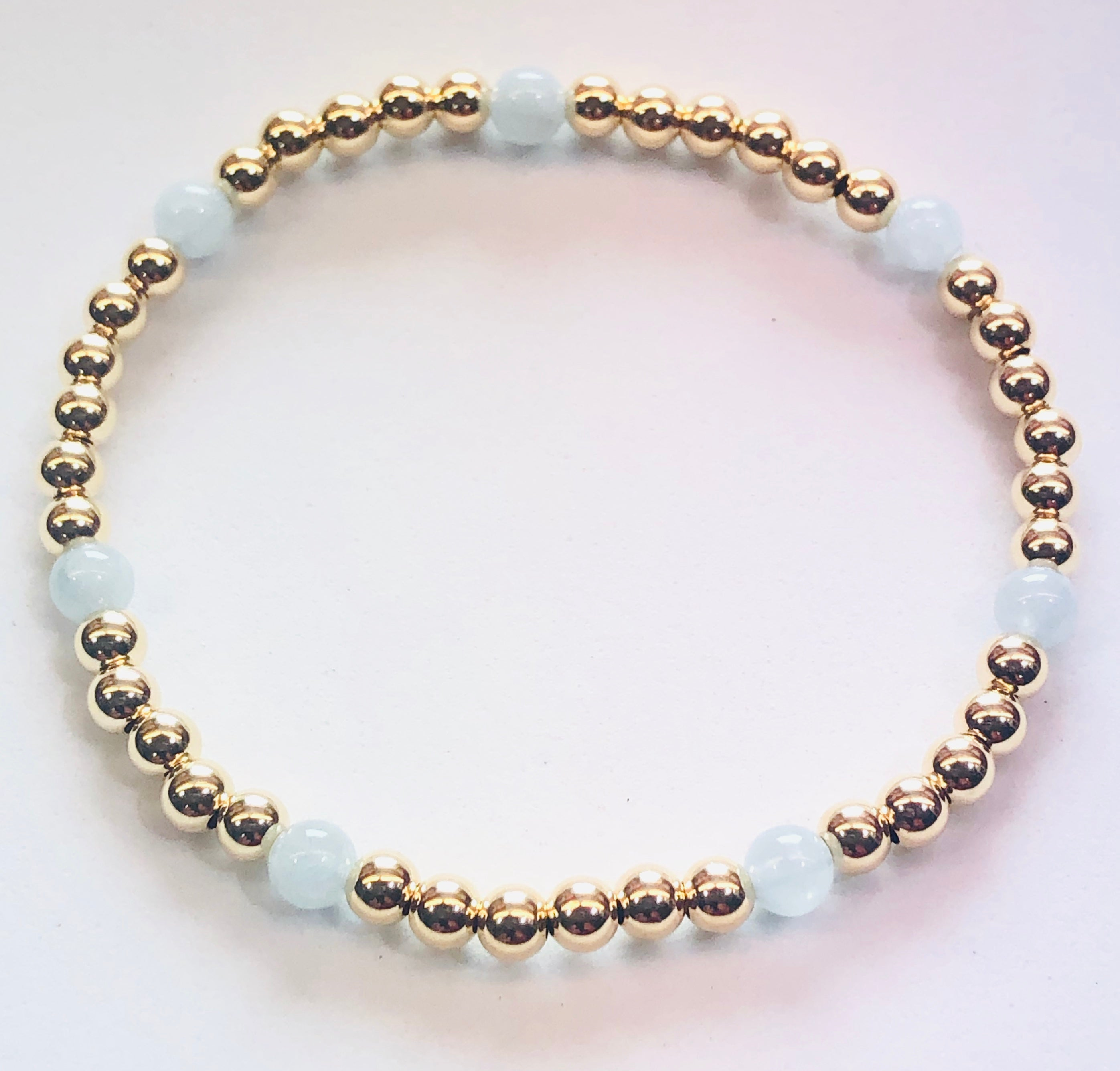 4mm 14kt Gold Filled Bead Bracelet with 4mm Aquamarine Beads