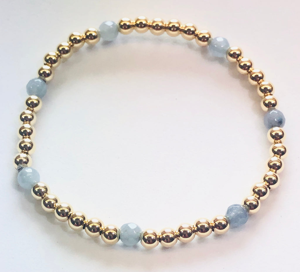 4mm 14kt Gold Filled Bead Bracelet with 4mm Blue Gray Jade Beads