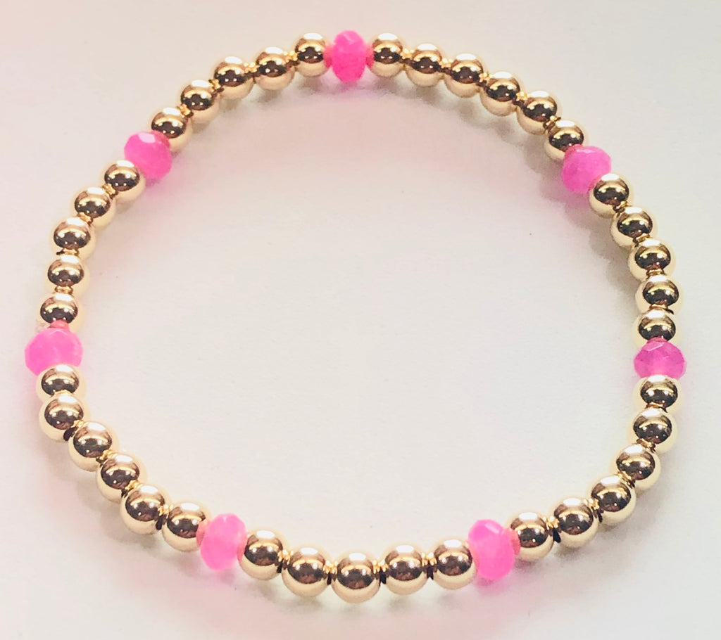 4mm 14kt Gold Filled Bead Bracelet with 4mm Hot Pink Jade Beads