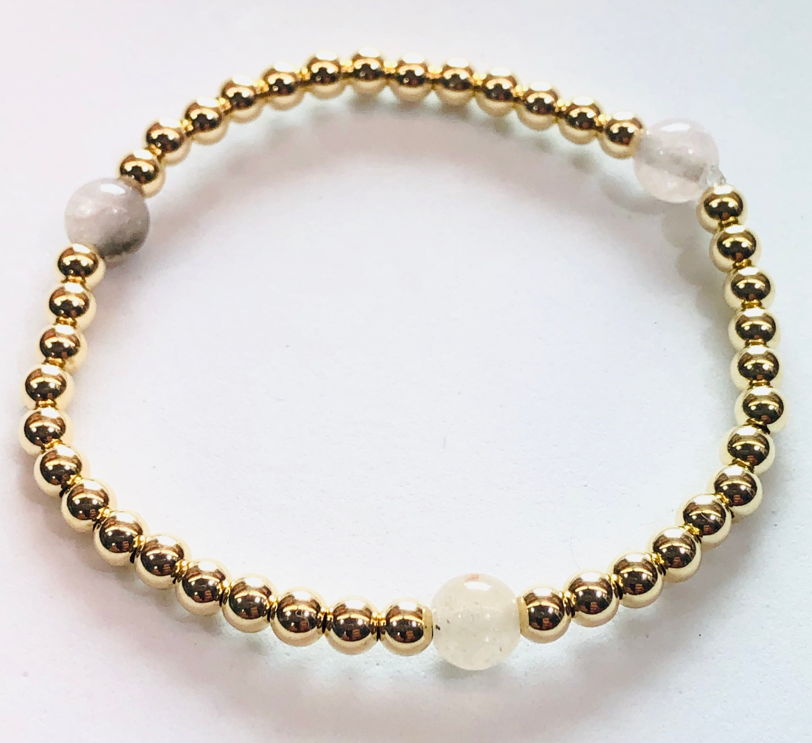 4mm 14kt Gold Filled Bead Bracelet with 3 6mm Pink Opal Jade Beads