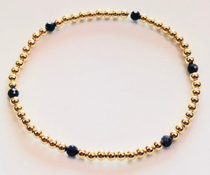 3mm 14kt Gold Filled Bead Bracelet with 6 3mm Sapphire Beads